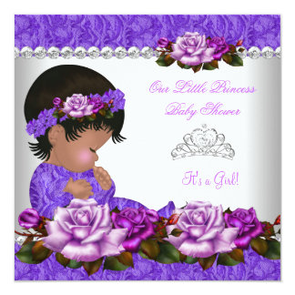 African American Princess Baby Shower Girl Rose 3 13 Cm X 13 Cm Square Invitation Card