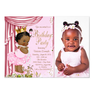 African American Princess Birthday Party 11 Cm X 16 Cm Invitation Card