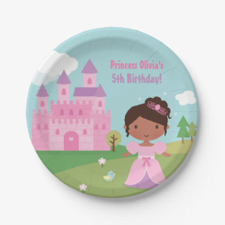 African American Princess Birthday Party Plates 7 Inch Paper Plate