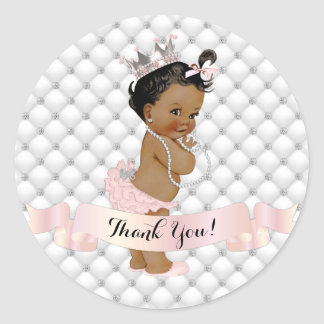 African American Princess Diamonds Blush Pink Classic Round Sticker
