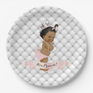 African American Princess Diamonds Blush Pink Paper Plate