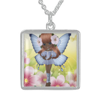African American Princess Fairy Square Pendant Necklace