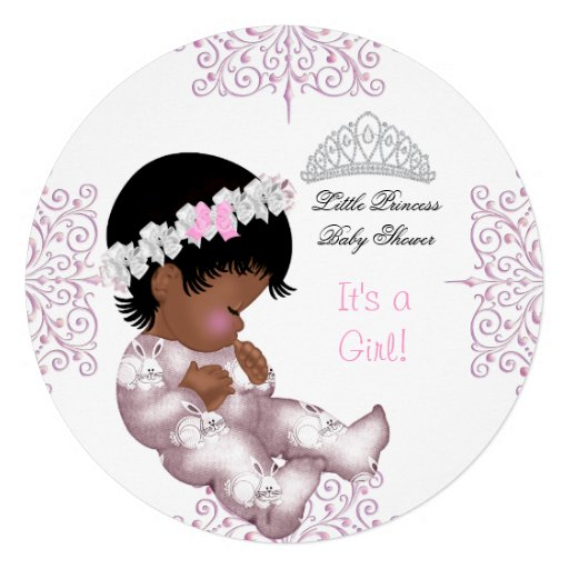 African American Princess Pink Baby Shower Girl Personalized Invitations