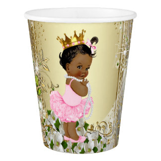 African American Princess Pink Gold Baby Shower