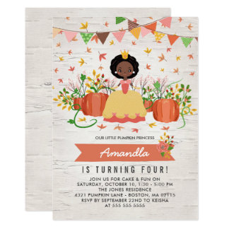 African American Pumpkin Princess Birthday Party Card