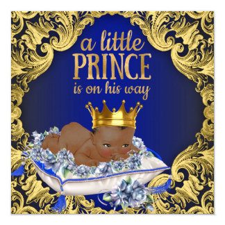African American Royal Prince Baby Shower 13 Cm X 13 Cm Square Invitation Card