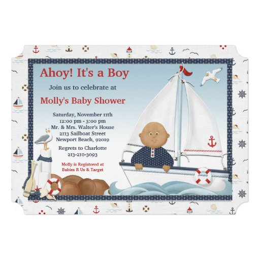 African American Sailboat Baby Shower Invitation