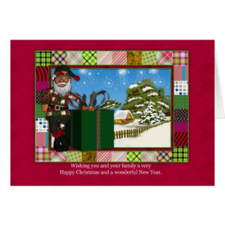 African American Santa Christmas Greeting Card Wit