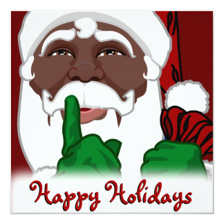 African American Santa Christmas Invitations