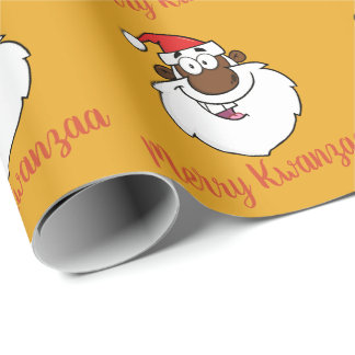 African American Santa Christmas Kwanzaa Greetings Wrapping Paper