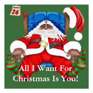 African American Santa Clause Christmas Invitation