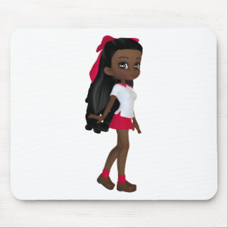 African American School Girl Mouse Pads