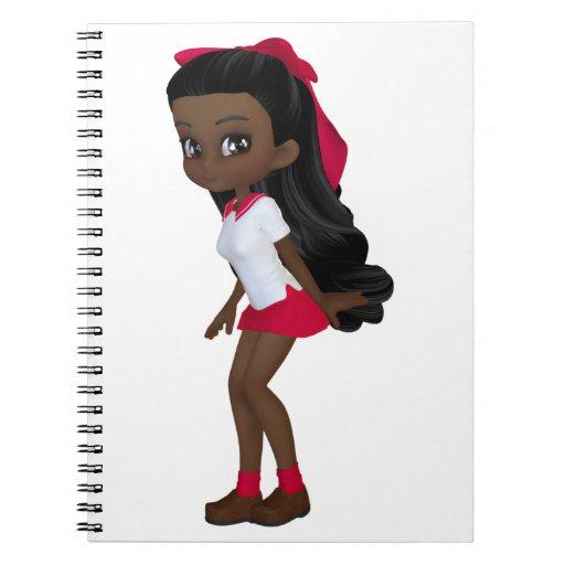 African american schoolg girl note book
