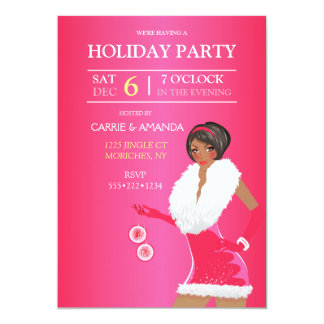 African American Sexy Pink Christmas Fashion Girl 13 Cm X 18 Cm Invitation Card