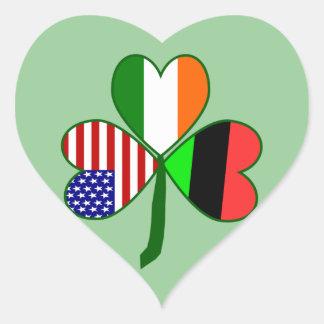 African American Shamrock.png Heart Sticker
