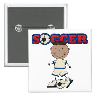 African American Soccer Boy 15 Cm Square Badge