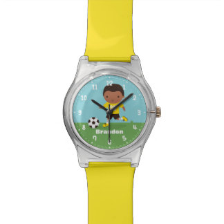 African American Soccer Boy Personalized Watch