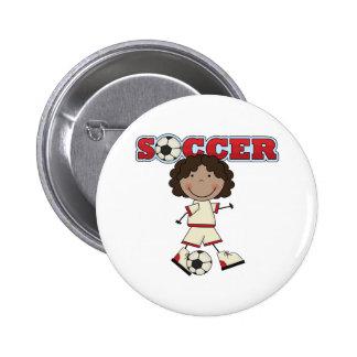 African American Soccer Girl 6 Cm Round Badge