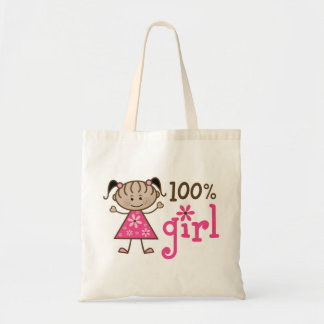 African American Stick Figure 100% Girl Pink Budget Tote Bag