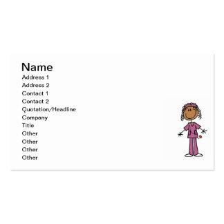 African American Stick Figure Nurse Business Card Template