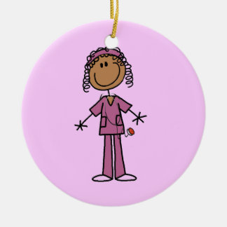 African American Stick Figure Nurse Christmas Ornament