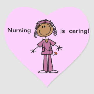 African American Stick Figure Nurse Heart Sticker