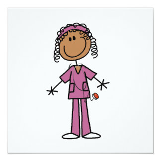 African American Stick Figure Nurse Personalized Announcements