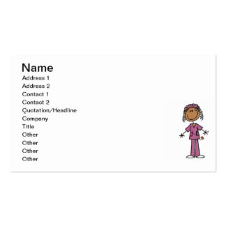 African American Stick Figure Nurse Pack Of Standard Business Cards