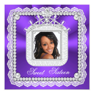 African American Sweet 16 Sixteen Purple Photo Personalized Invites
