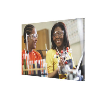 African American teenagers in science class Gallery Wrap Canvas