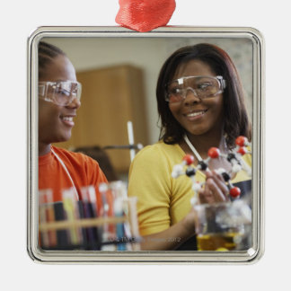 African American teenagers in science class Silver-Colored Square Decoration