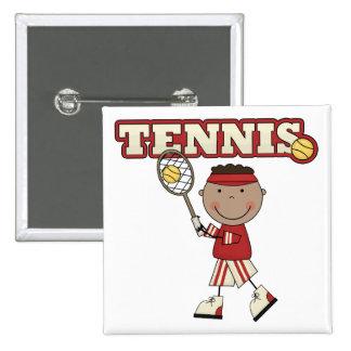 African American Tennis Boy 15 Cm Square Badge