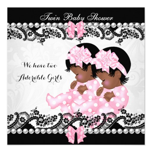 African American Twin Baby Shower Cute Girls Pink Invitation