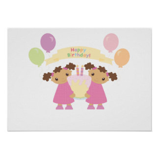 African American Twin Birthday Poster