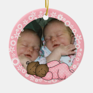 African American Twin Girls 1st Christmas Ornament