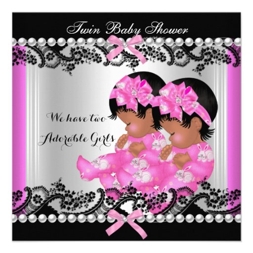 African American Twin Girls Baby Shower Hot Pink 2 Custom Announcements
