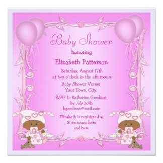 African American Twin Girls Pink Baby Shower 5.25x5.25 Square Paper Invitation Card