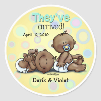 African American Twins Arrived Round Sticker