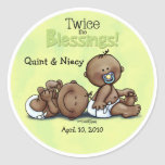 African American Twins Twice Blessed Round Stickers