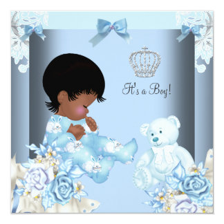 African American Vintage Prince Baby Shower Boy 2 13 Cm X 13 Cm Square Invitation Card