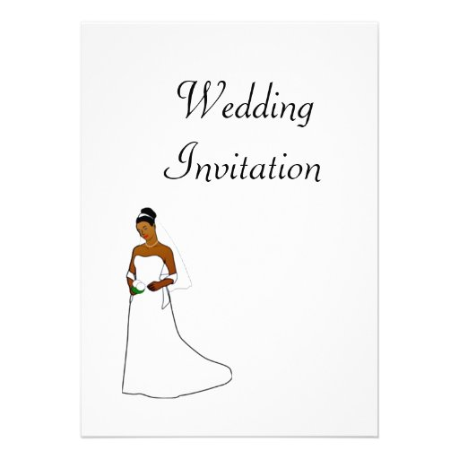 African American Wedding Invitation with bride