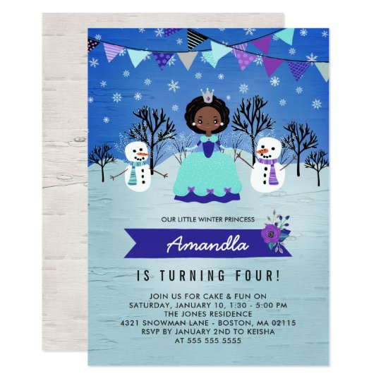African American Winter Princess Birthday Party Card