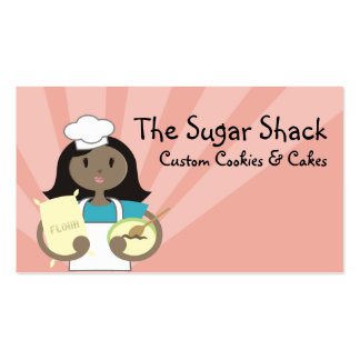 African American woman baking chef flour cards Business Cards