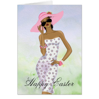 African American Woman Easter Card