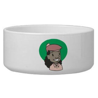 African American Woman Golfer Dog Water Bowl