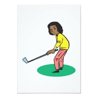 African American Woman Golfer 5x7 Paper Invitation Card