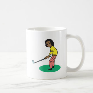 African American Woman Golfer Coffee Mugs