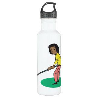 African American Woman Golfer 710 Ml Water Bottle