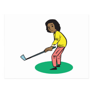 African American Woman Golfer Postcard