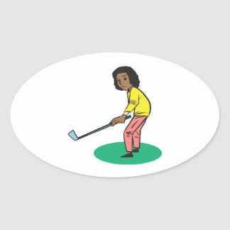 African American Woman Golfer Oval Stickers